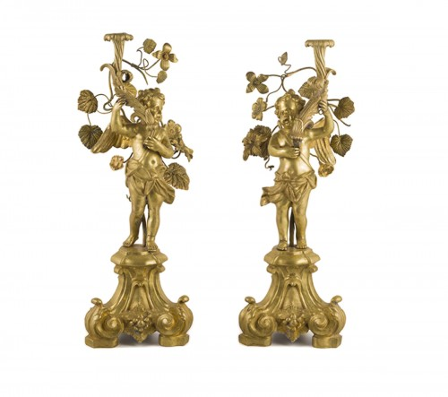 Pair of bronze candlesticks, Rome first half 18th century
