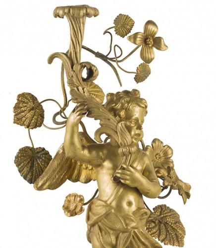 Lighting  - Pair of bronze candlesticks, Rome first half 18th century