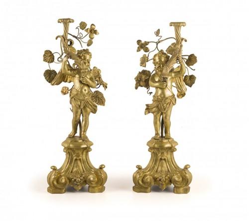 Pair of bronze candlesticks, Rome first half 18th century -