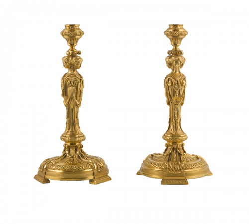 Pair of candlesticks with caryatids, late 19th  century