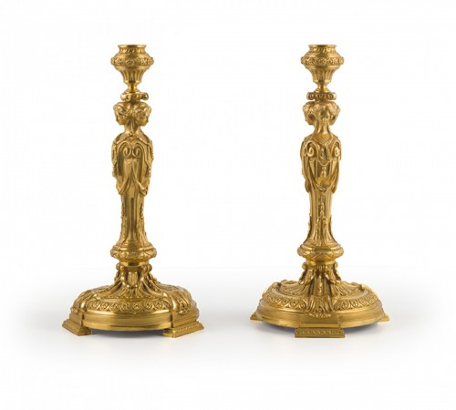 Pair of candlesticks with caryatids, late 19th  century -