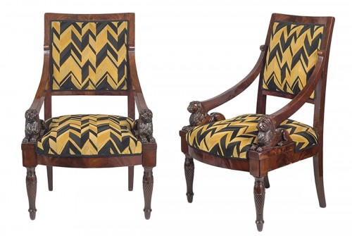 A pair of Empire armchairs , Naples