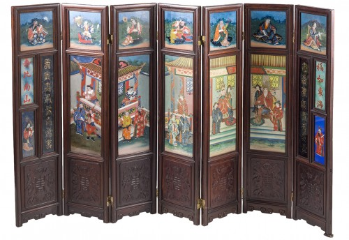 Small seven panels screen, China 19th Century