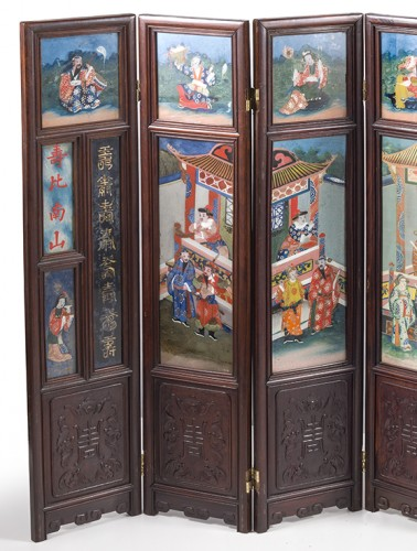 Small seven panels screen, China 19th Century - Asian Art & Antiques Style