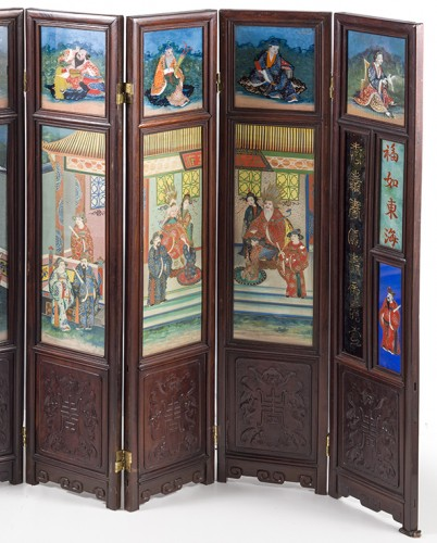 Asian Art & Antiques  - Small seven panels screen, China 19th Century