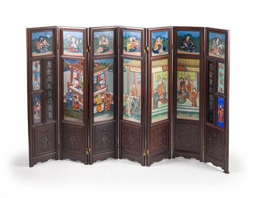 Small seven panels screen, China 19th Century -