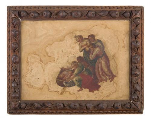 Pair of marble paintings  - Paintings & Drawings Style Louis XIV