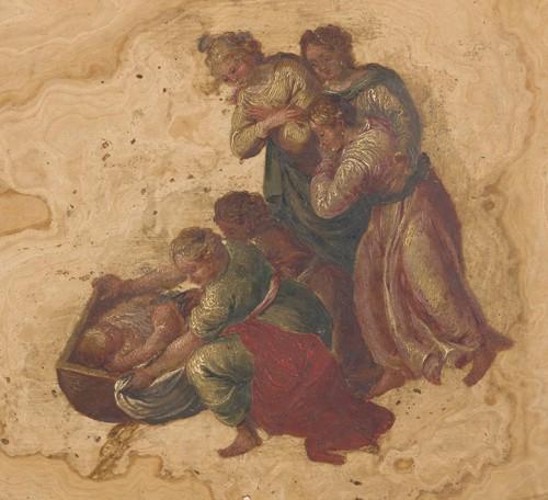 Pair of marble paintings  -