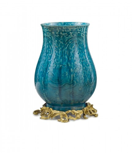 An ormolou mounted turquoise porcelain vase , China 19th Century