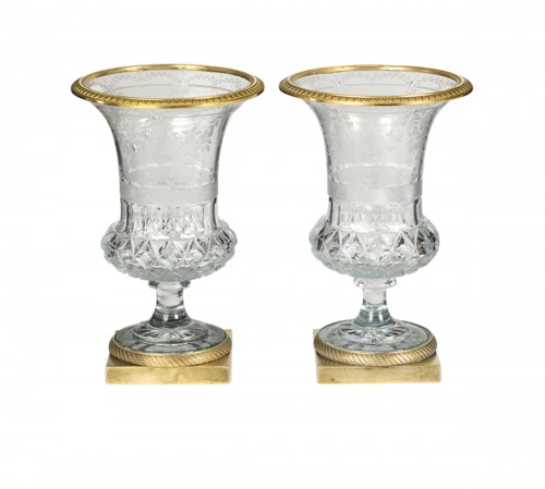 Pair of crystal cut Medicis vases , Early 19th Century