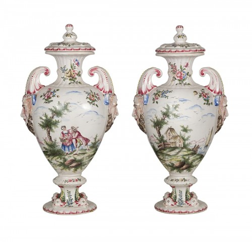Pair of 19th Century earthenware potiches