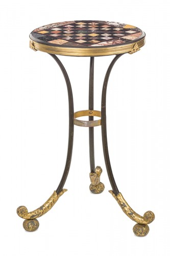 A Restauration iron gueridon with a marble marquetry top , Rome .