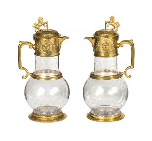 Pair of ewers in crystal and gilded bronze , England , Regency Period