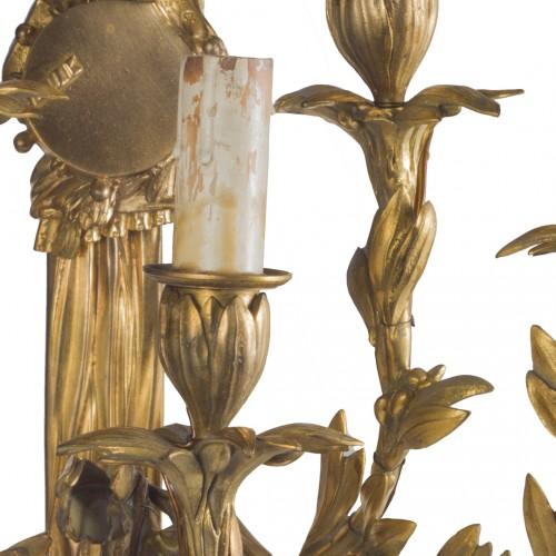 Pair of Napoleon III gilt bronze wall lights -