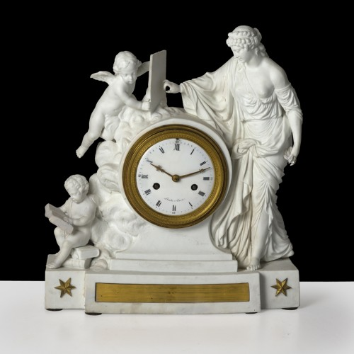 Horology  - An Empire biscuit mantel clock,