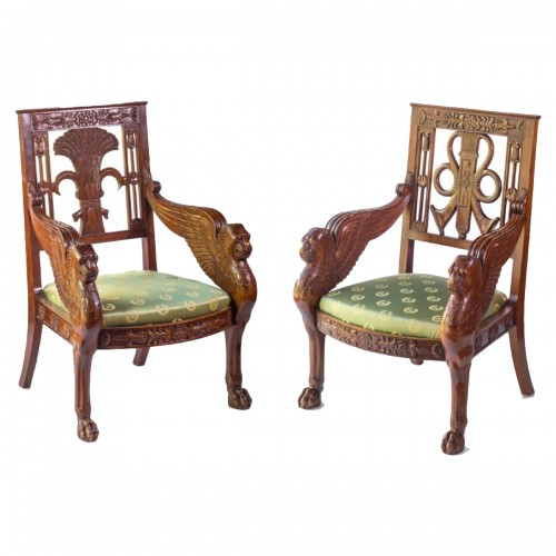 Pair of mahogany armchairs end of the 20th Century