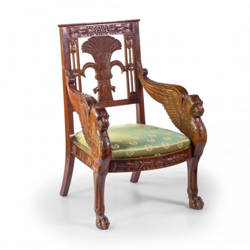 Pair of mahogany armchairs end of the 20th Century - Seating Style Napoléon III