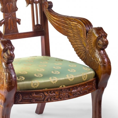Pair of mahogany armchairs end of the 20th Century -