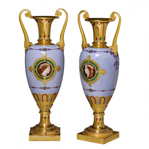 "A Sèvres pair of vases ""fuseau"" with dolphin handles"
