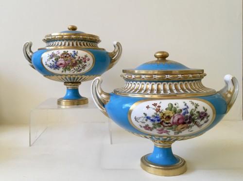 """Porcelain & Faience  - A pair of Sèvres vases """"allemands unis"""""""