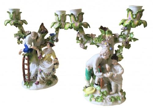 A pair of Meissen candelabras