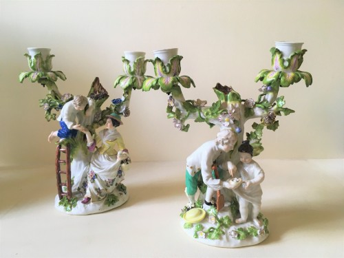 A pair of Meissen candelabras - Porcelain & Faience Style