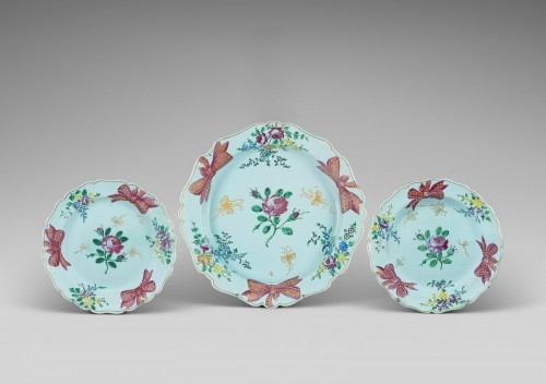 Two Marseille plates and a dish  - Porcelain & Faience Style