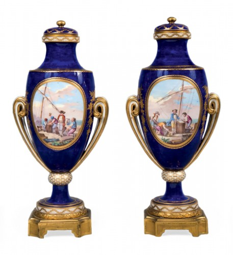 A Sèvres pair of ovoid vases