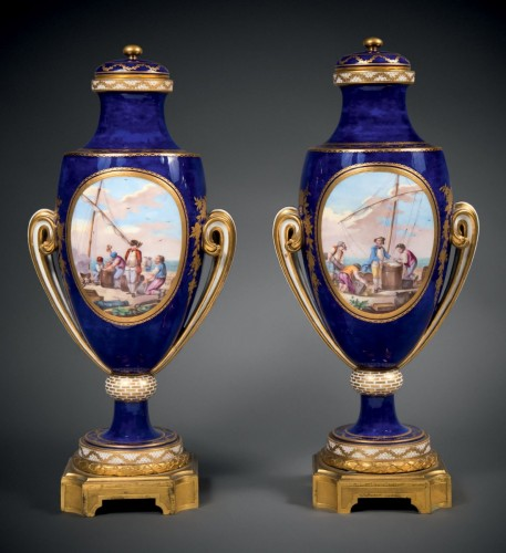 A Sèvres pair of ovoid vases -