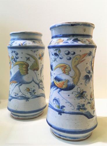 Porcelain & Faience  - Two Muel faience albarelles