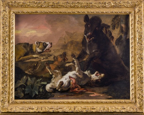Abraham Hondius (c.1631–1691) - Dogs Attacking a Boar