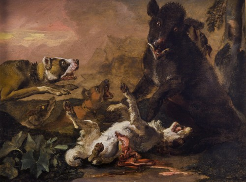 Abraham Hondius (c.1631–1691) - Dogs Attacking a Boar - Paintings & Drawings Style