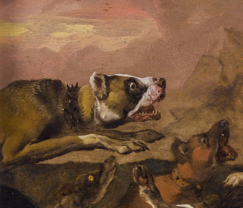 Paintings & Drawings  - Abraham Hondius (c.1631–1691) - Dogs Attacking a Boar