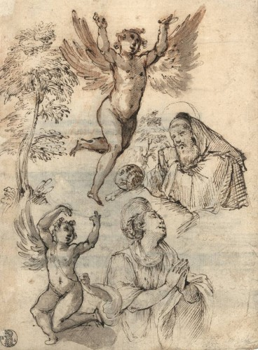 Roman School, early 17th century - Old Master Drawing Study Sheet